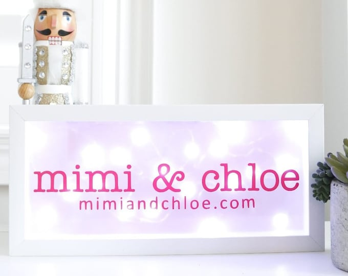"Featured listing image: Customize lighted shadow box/ name box/ night light for home, nursery, office decor (6""x14"")"