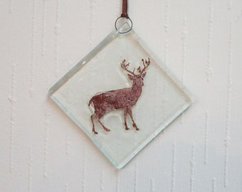 Deer, Stag Hanging, Fused Glass Christmas Tree & Window Decoration - Xmas Glass Ornament