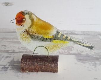 A Goldfinch Sitting on a Branch Windowsill Decoration Fused Glass Ornament Wild Bird Sun Catcher Ideal Twitcher Gift