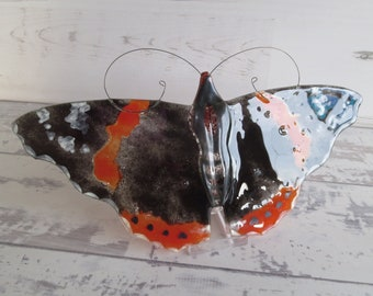 Red Admiral Butterfly Wall Hanging, Fused Glass Sun Catcher Home Decoration, Garden or Window