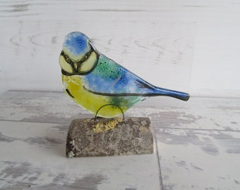 Blue Tit Sitting on a Log, Front Facing, Fused Glass Ornament Windowsill Decoration
