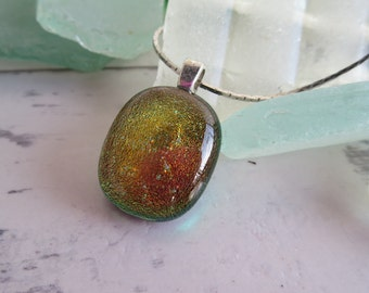 Lustre Green Orange Pendant Dichroic Fused Glass  on a Flat Silver Snake Chain - Hues of Copper Bronze Gold Turquoise