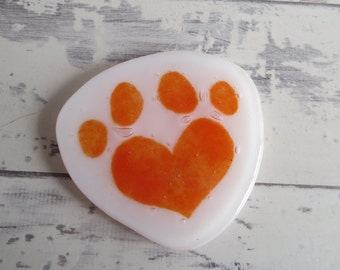 Heart Paw Print Coaster Red - Cat or Dog Shaped Table Saver - Mat - Best Pet Present - Mug Wine Glass Rest