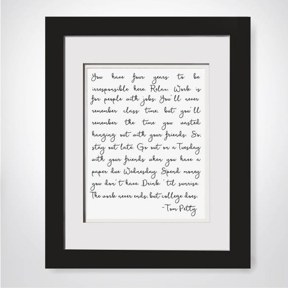 Framed Tom Petty Quote - Classic Rock Lyrics Wall Decor, High School  Graduation Gifts For Freshman In College Gift