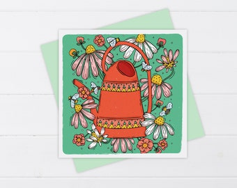 Floral Watering Can Card