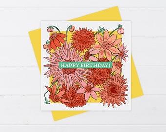 Dahlia Birthday Card