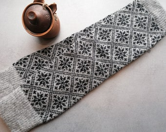 finely knitted small nordic star pattern Gift for her. good for walking Fair Isle leg warmers SLIM model light grey and blue combination