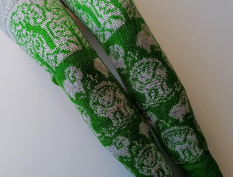 made of fine sheep wool warm,soft and cozy nice sheep pattern Lamb leg warmers green-grey color range