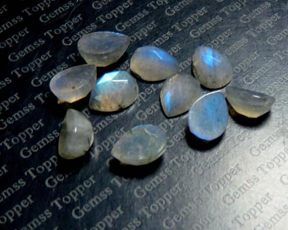 100 piezas Labradorita Natural fuego azul 3x3 mm Redondo cabochon piedra suelta R-05