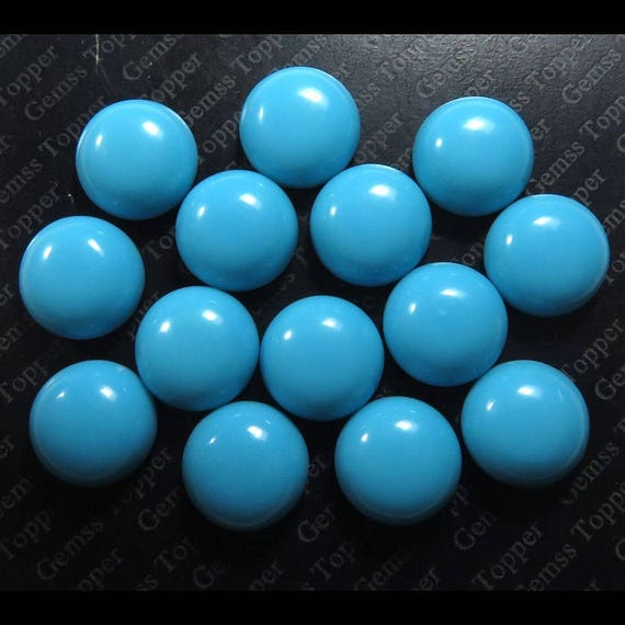 One Pair 100/% Natural Sleeping Beauty Turquoise Round Cabochons 10mm