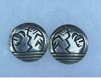 Vintage Silver Hopi-style Earrings