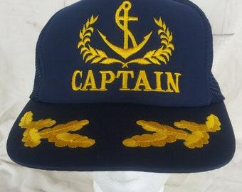 Vintage Captain Trucker Hat Snapback Hat 1980s 0ec74ab5d62a