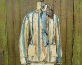 blue stripes work jacket