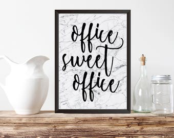"PRINTABLE ART, 8x10,""Office Sweet Office""Instant Download, Office Decor,Home Office Wall Art, Marble Print,  Black & White Typography"