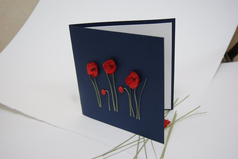 Quilling red poppy Poppy anniversary Quilled poppy Card for all ocassions