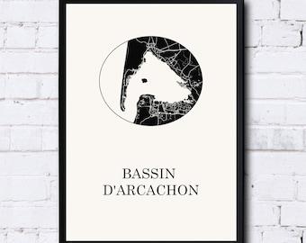 Carte Du Bassin D Arcachon Etsy