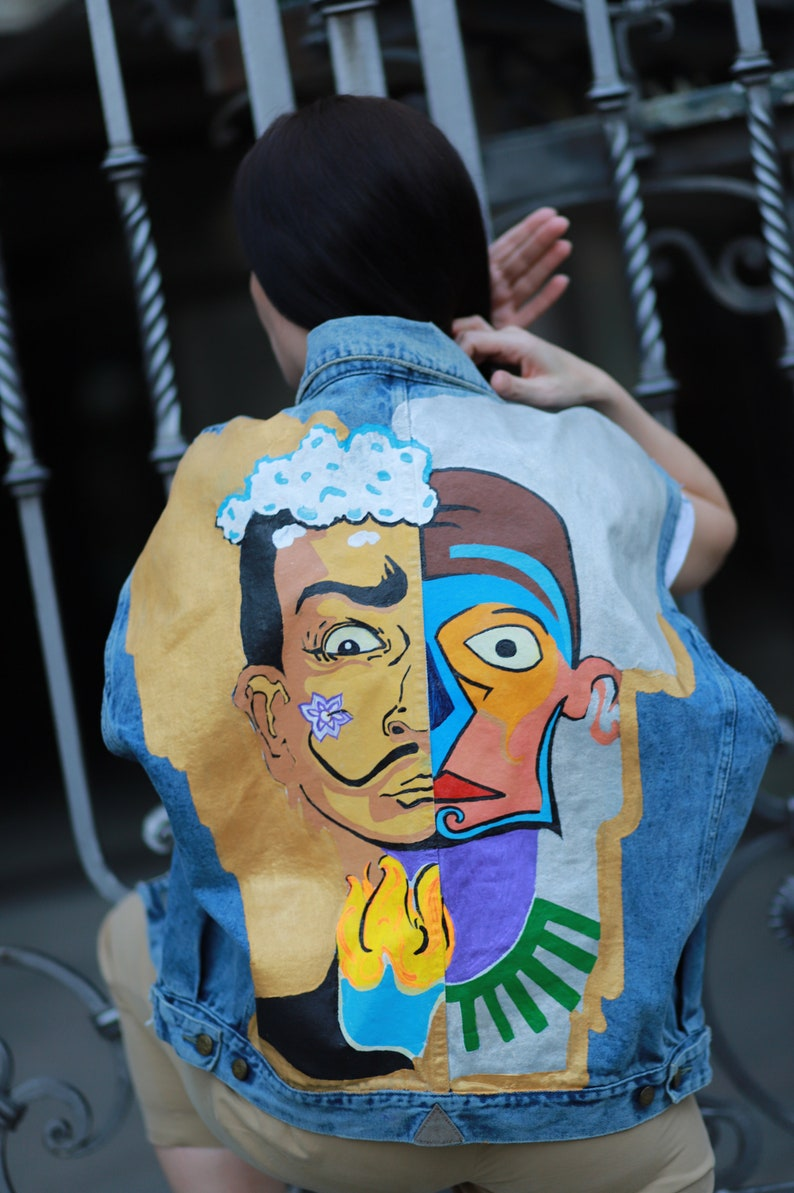 Salvador Dali Hand-painted Denim Vest