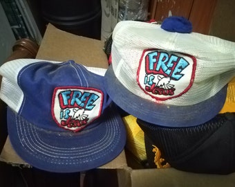 40f436b4b18 Lot of 2 Free Is Jesus Kproduct Snapback Trucker Pom Pom Hat Cap