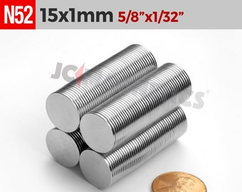 """15mm x 1mm 5/8"""" X 1/32"""" N52 Strong Thin Round Small Disc Rare Earth Neodymium Crafts Fridge Magnets"""