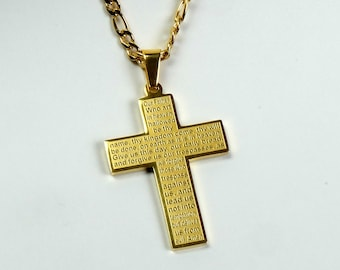 Titanium Steel 18K Gold plated round cross /& 6mm Stainless beveled cuban chain