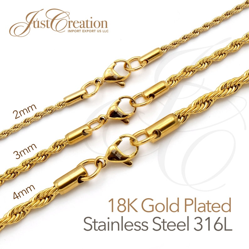 Gold Plated 18K 2 3 4mm thick  Stainless Steel 316L Rope image 1