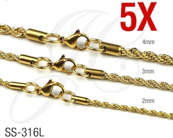 5pcs 18K Gold Plated Stainless Steel 316L Rope Chains Necklace Men Women 2mm, 3mm, 4mm - 16in 18in 20in 22in 24in 26in 28in 30in Length