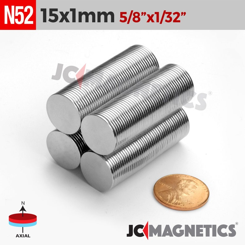 15mm x 1mm 5/8 X 1/32 N52 Strong Thin Round Small image 0