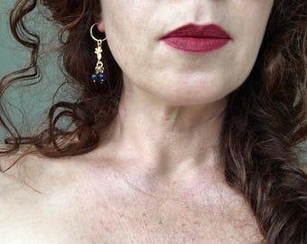 Lapis lazuli earrings, Ancient roman earrings, Long gold dangle earrings, Long gold drop earrings, Gold coin earrings