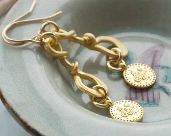 Long gold dangle earrings, Long gold drop earrings, Gold coin earrings, Byzantine earrings, Gold infinity earrings, Ancient roman jewelry