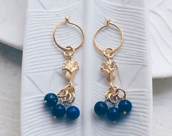 Lapis earrings, Ancient roman earrings, Long gold dangle earrings, Long gold drop earrings, Gold coin earrings