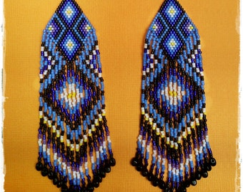 Long beaded Ethnic Earrings * Shades of Blue and Violet * Fringe Tribal Earrings * Dangle seed bead earrings * Magical Portal with Light *