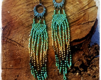 TURQUOISE and GOLD earrings * Extra Long dangle beaded earrings * Inspired by the Wind * Tribal Earrings * Turquoise feathers * Feminine