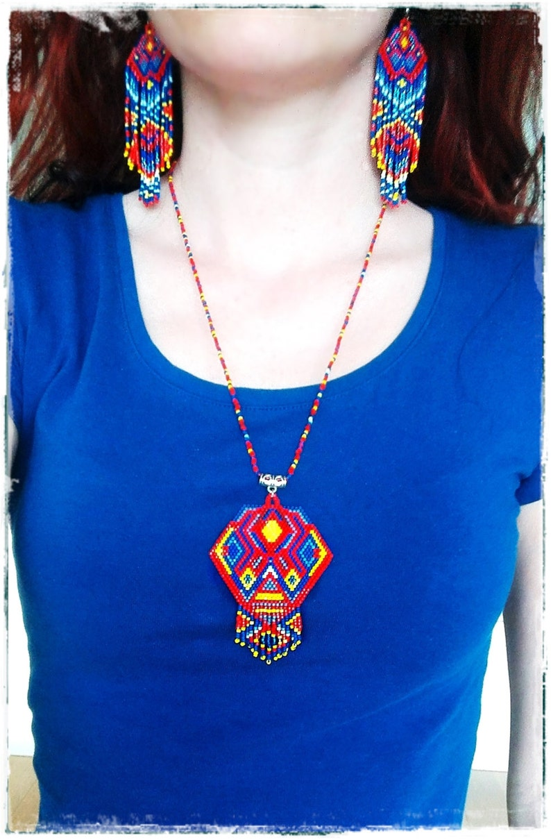 boho beaded necklace * Ethnic necklace Tribal pendant with fringe NATIVE AMERICAN style necklace Full of POWER seed bead pendant