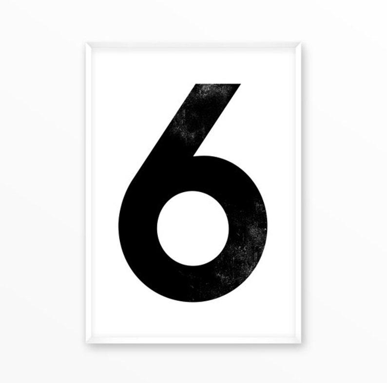 Zahlen Druck 6, 1-9 Zahl Poster, Kinderzimmer, skandinavisch,  minimalistisch, druckbar, Kunst, Typografie, Inspiration, Home Dekor,  Geschenk