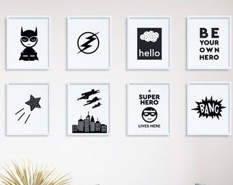 Superhero Set of 8 Prints 8x10, Printable Posters for Kids, Wall Art Gallery Wall Set, Nursery Prints Kids Room