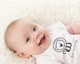 Sale, Baby Lion Onesie, Funny Baby Onesie, Modern Baby Onesie, White Onesie, Onsie, Black and White Bodysuit, Baby Clothing, Unique Onesie