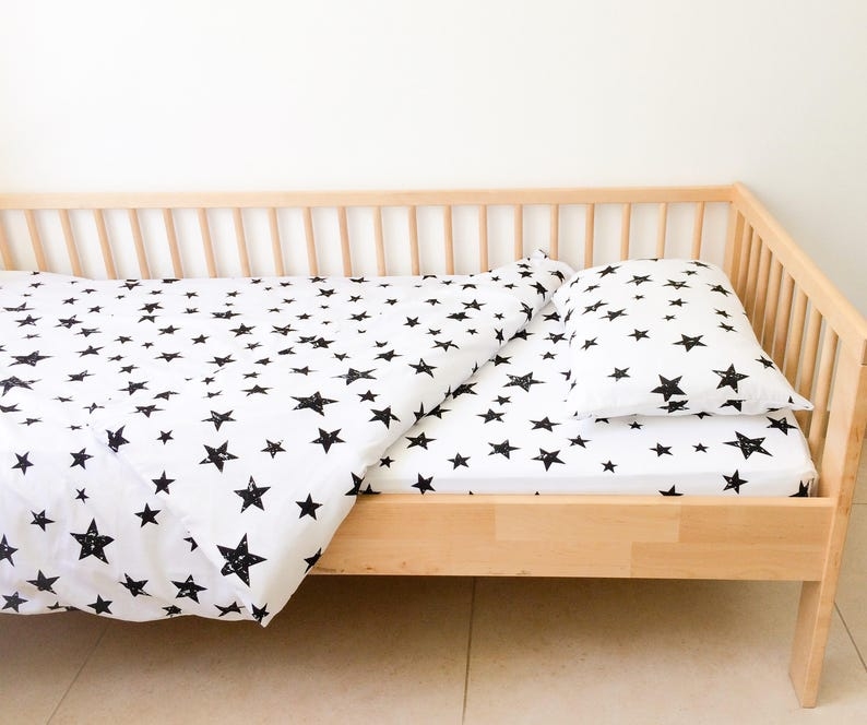 Geometric Sheets Monochrome Neutral Nursery Decor Kids Bedding Toddler Bedding Bedroom Decor Fitted Sheets Boys Stars Twin Sheets Set