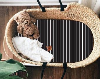 Gender Neutral Baby Moses Basket Sheet, Bassinet Sheets Moses Basket Bedding Bassinet Moses Basket, Monochrome Bedding Black White