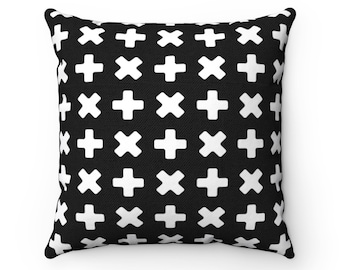 Monochrome Pillow, Nordic Design Black and White Pillow, Scandinavian Nursery,  Square Pillow and Insert