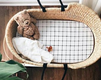 Moses Basket Sheet, Bassinet Sheets Moses Basket Bedding, Pram Sheet Bassinet Bedding, Baby Moses Basket, Monochrome Bedding Black and White