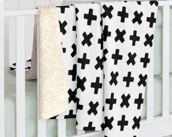 Monochrome Cross Blanket Sherpa, Scandinavian Kids Blanket, Nordic Cross Fleece Blanket