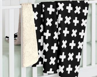 Nordic Cross Blanket Sherpa, Scandinavian Kids Blanket, Fleece Blanket