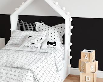 Monochrome Grid Twin Sheets Set with Pillowcase, Fitted Sheet Set, Kids Room Bedding, Kids Bedding Set, Toddler Bedding, Gender Neutral Room