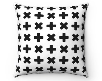 Black and White Pillow, Nordic Design  Monochrome Pillow, Scandinavian Nursery,  Square Pillow and Insert