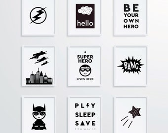 Set of 9 Superhero Prints 8x10, Printable Posters for Kids, Wall Art Gallery Wall Set, Nursery Prints Kids Room