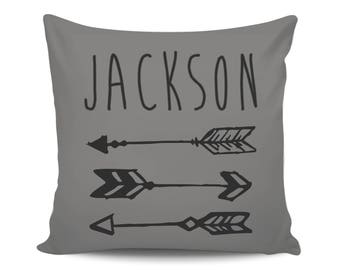 Personalized Baby Boy Name Pillow, Arrows Baby Shower Gift for Mom, Nursery Decorative Pillow Cover, Throw Pillow, New Baby Announcement