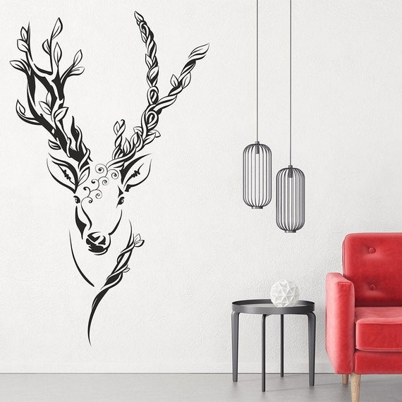 Bold Deer Head Shilouette Wall Decals Nursery Living Room Wall Art Stickers Decals Vinyl Home Decor