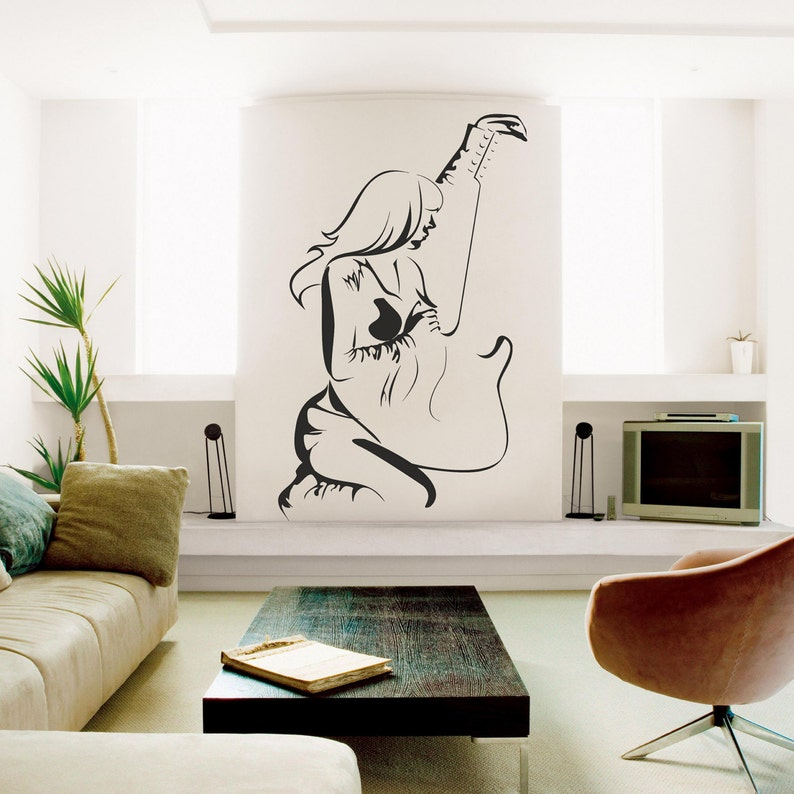 woman with guitar music wall decal girl with guitar wall   etsy
