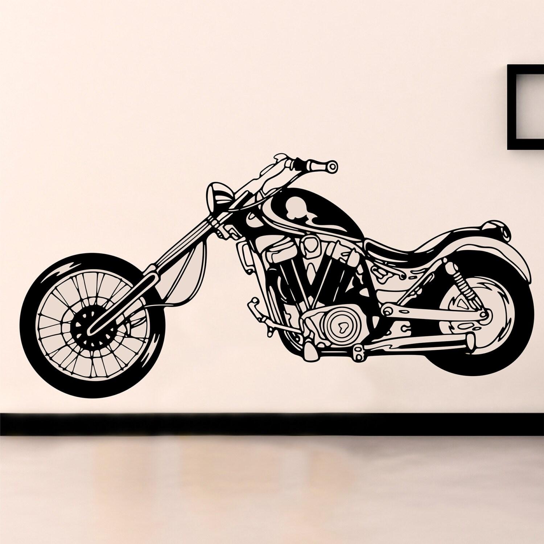 Chopper sticker mural sticker mural vélo vinyle mural retro moto autocollant moto né pour être sauvage muraux moto decor mur vinyle 149