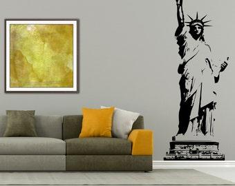 I love New York Wall decal, Statue of Liberty wall decal, New York city, United States of America, Wall art, Lady Liberty, Wall vinyl 090